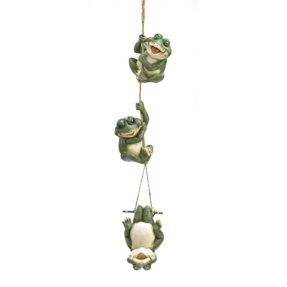 Hanging happy frog swing tree statue outdoor garden for Outdoor hanging ornaments