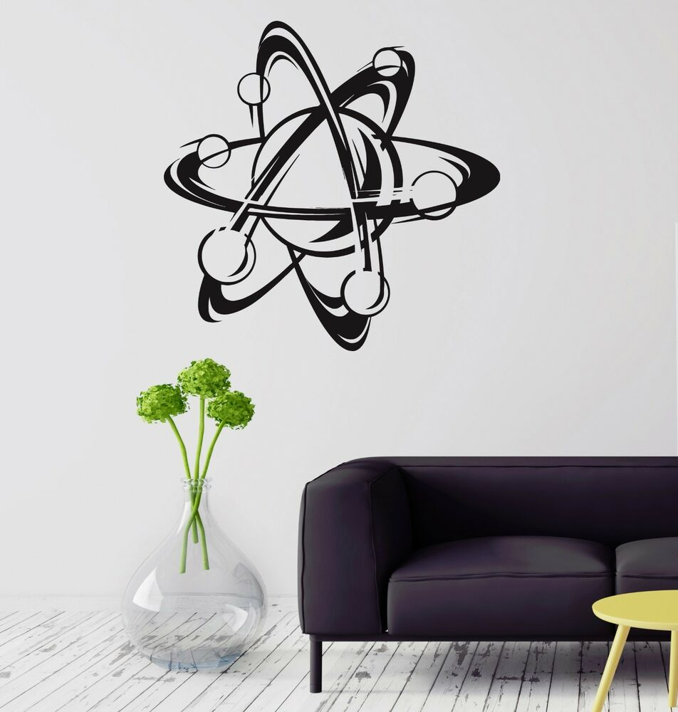 Wall decal atom science school physics education vinyl for Awesome science wall decals