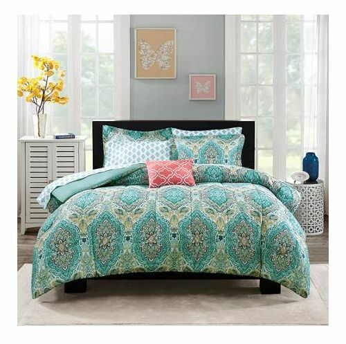 Queen Size Teal Blue Color Paisley Medallion 8pc Comforter