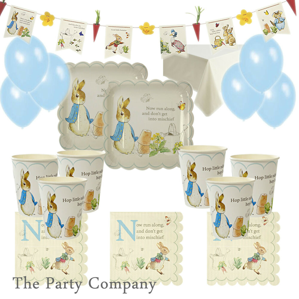 peter rabbit party kit plates cups baby shower christening first 1st birthday ebay. Black Bedroom Furniture Sets. Home Design Ideas