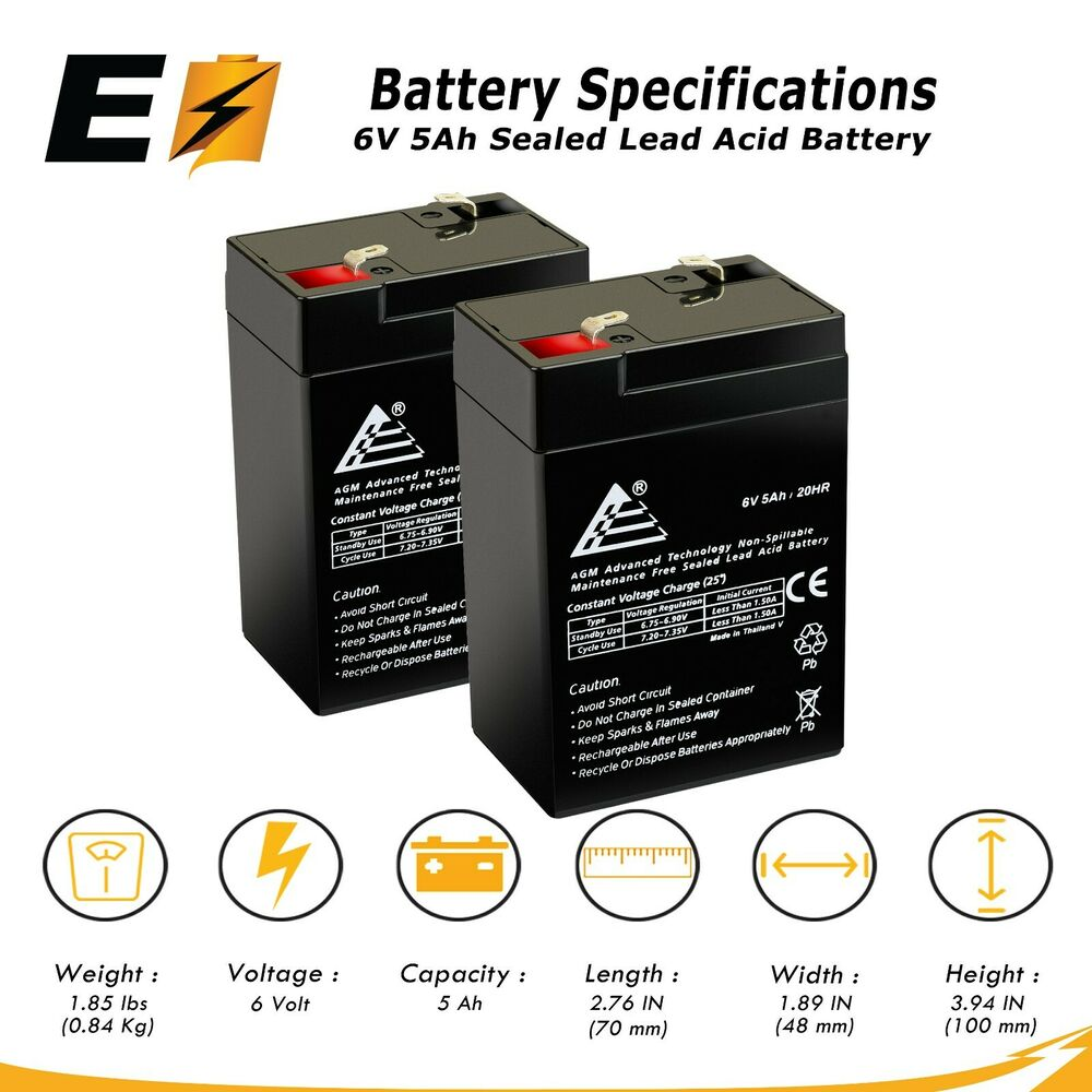 2 x 6v 6 volt 5ah rechargeable sealed lead acid battery replaces 4 5ah 4ah ebay. Black Bedroom Furniture Sets. Home Design Ideas