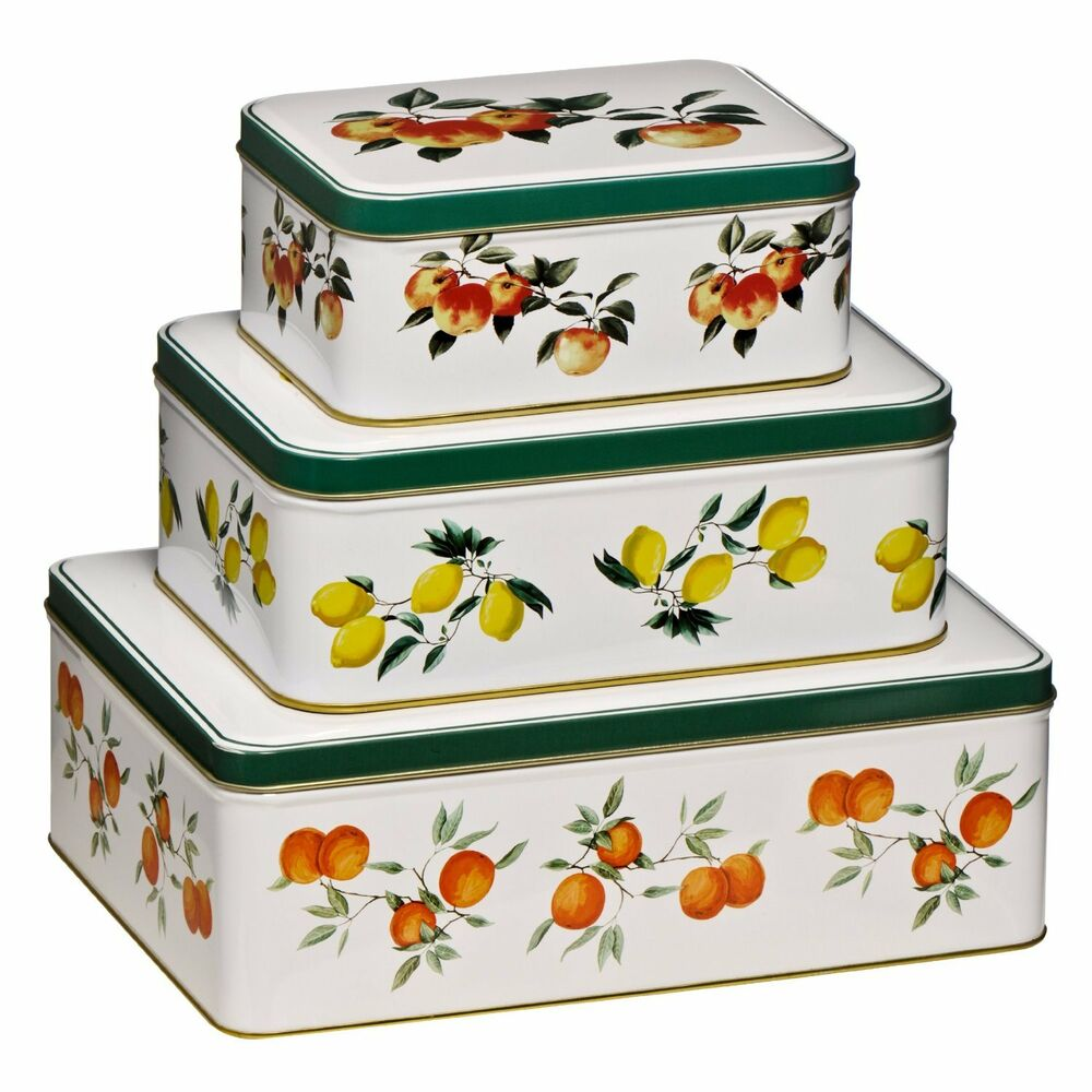 Set of 3 storage tins orchard fruit kitchen tidy storage for Kitchen set cake