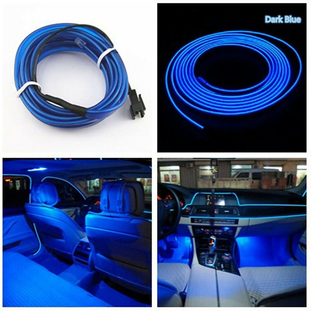 universal car auto interior led decorative wire strip atmosphere cold light blue ebay. Black Bedroom Furniture Sets. Home Design Ideas