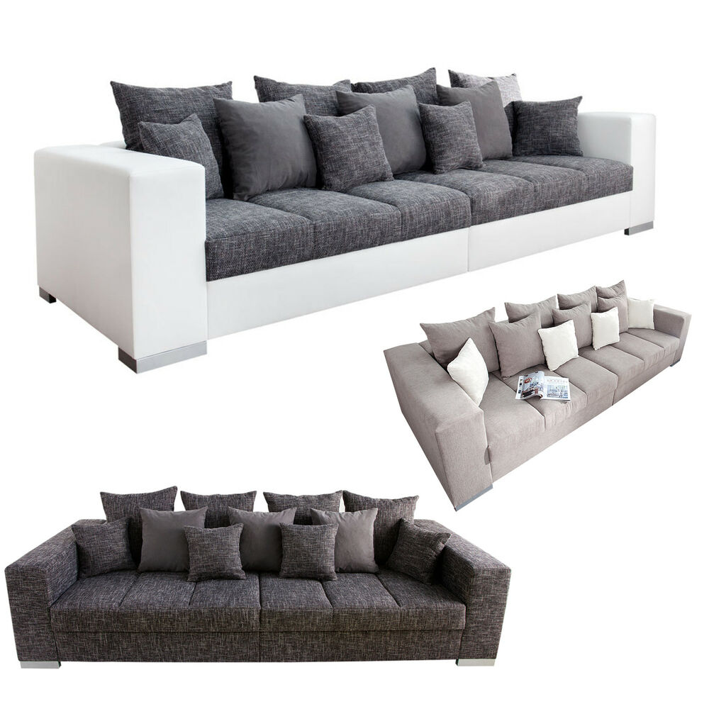 design xxl sofa big sofa island strukturstoff inkl kissen farbwahl couch ebay. Black Bedroom Furniture Sets. Home Design Ideas