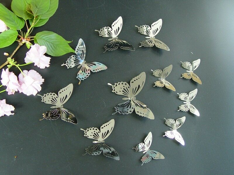 Hanging Butterfly Wall Decor : Set silver butterfly mirror wall decor metal d