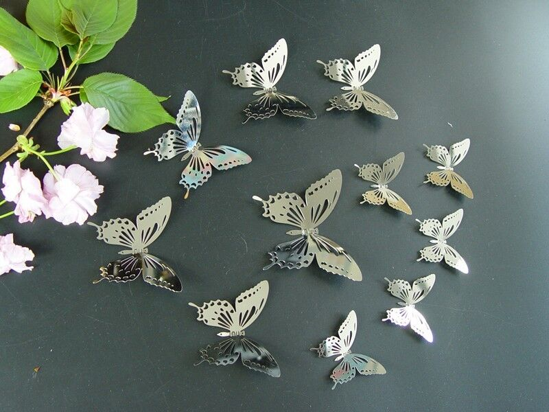 Set11 3 Silver Butterfly Mirror Wall Decor Metal 3d