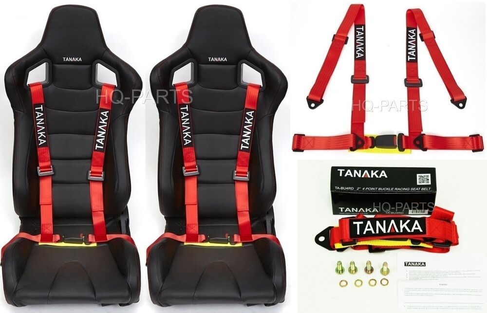 2 X TANAKA UNIVERSAL RED 4 POINT BUCKLE RACING SEAT BELT HARNESS |