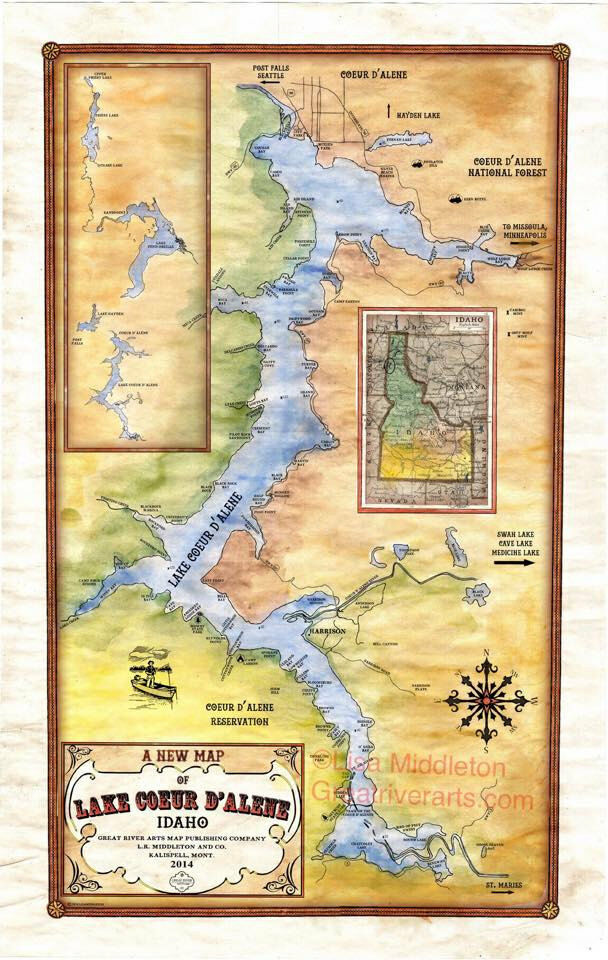 65 Lake Coeur D Alene Idaho Vintage Historic Antique Map Painting