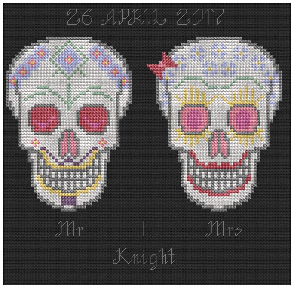 candy skulls wedding sampler cross stitch pattern by florashell ebay