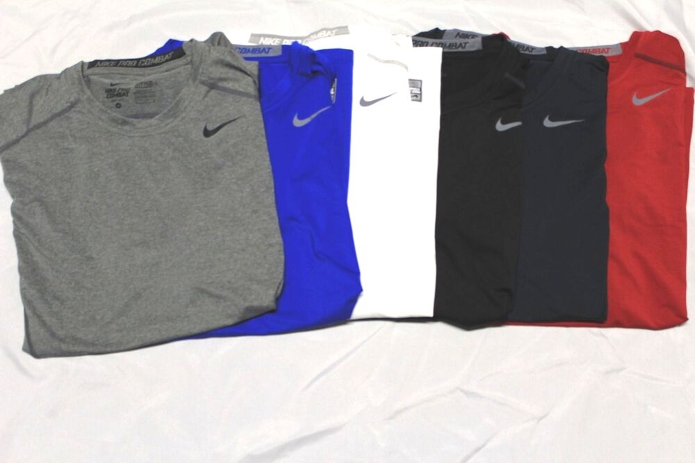 Mens Nike Pro Combat Dri Fit Fitted Short Sleeve T Shirt