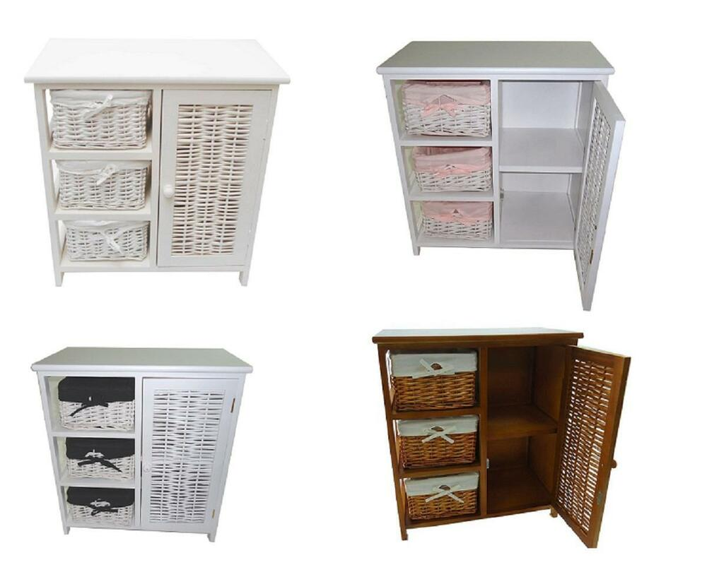 Shabby chic 3 chest of drawers kids bedside table bathroom for Bedside tables with storage