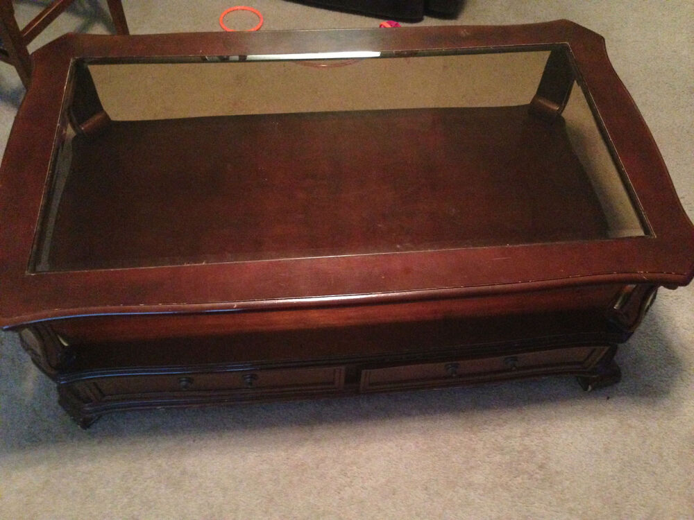 Elegant Coffee Table With Drawers For Storage Glass Top Ebay