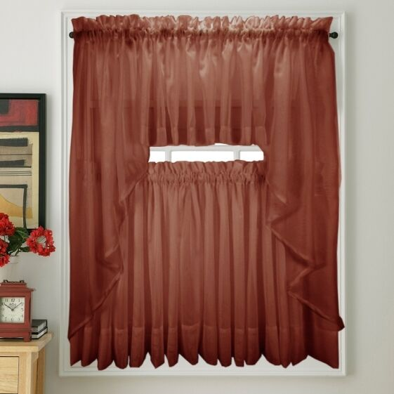 New Stylemaster Elegance Voile Cranberry Sheer Curtain | eBay