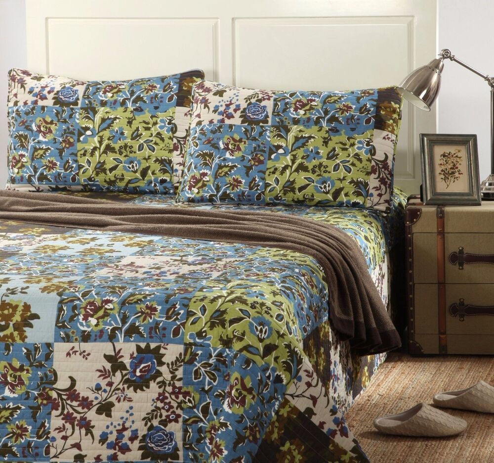Tache Blue Brown Cotton Patchwork Floral Lightweight Cabin