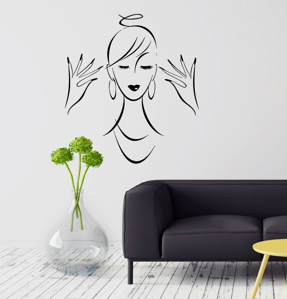 Wall decal beauty salon hair nail babrer stickers art for Stickers salon design