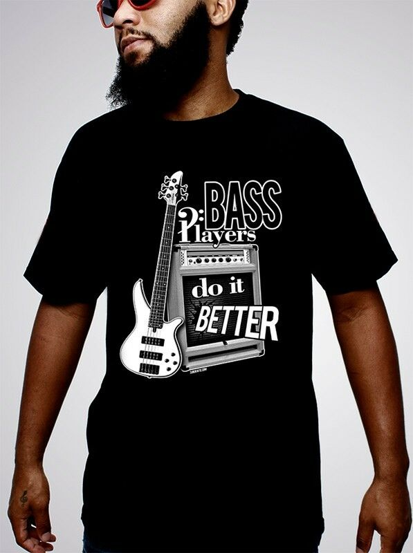 bass players do it better black t shirt bass guitar tshirt bass guitar music ebay. Black Bedroom Furniture Sets. Home Design Ideas
