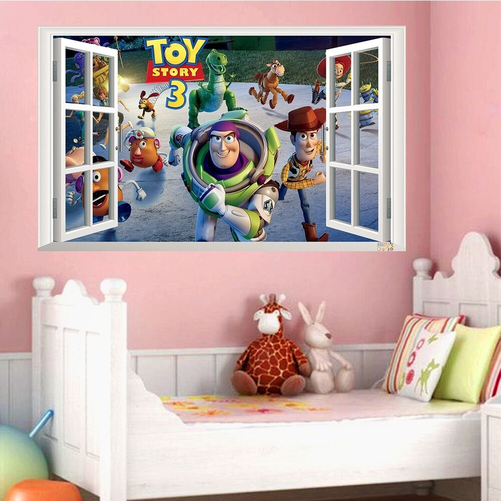 Toy story 3 window view wall sticker decals kids baby for Baby room decoration uk