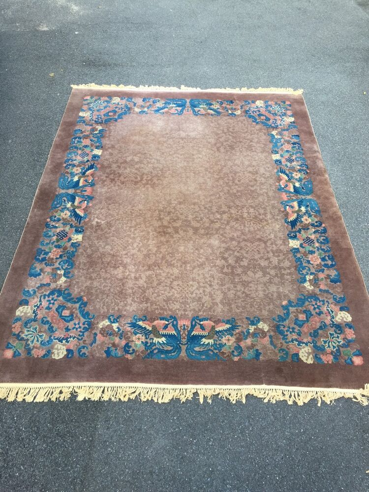 Rare Color C1950 Chinese Art Deco Sculpted Peking Rug