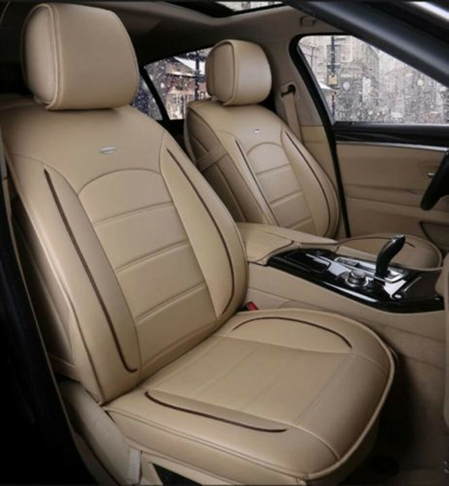 front rear dacron fabric pu leather car seat cushion cover for all car beige ebay. Black Bedroom Furniture Sets. Home Design Ideas