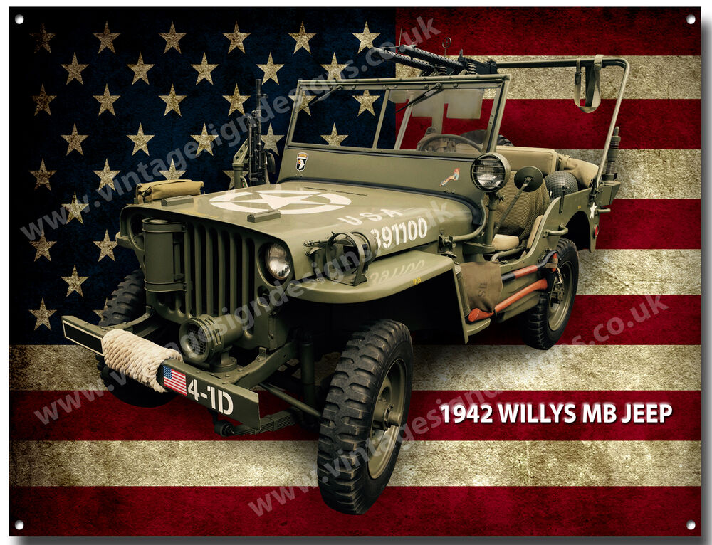 Willys Mb Jeep 1942 Metal Sign A3 Size Vintage American