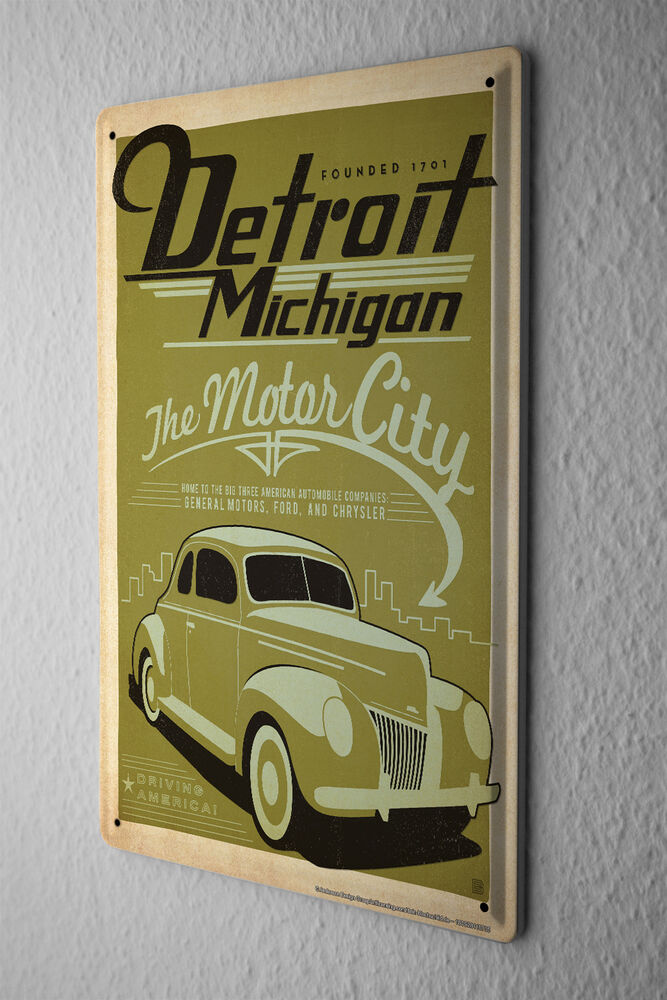 Vintage Tin Sign Automotive : Tin sign vintage car decoration detroit michigan