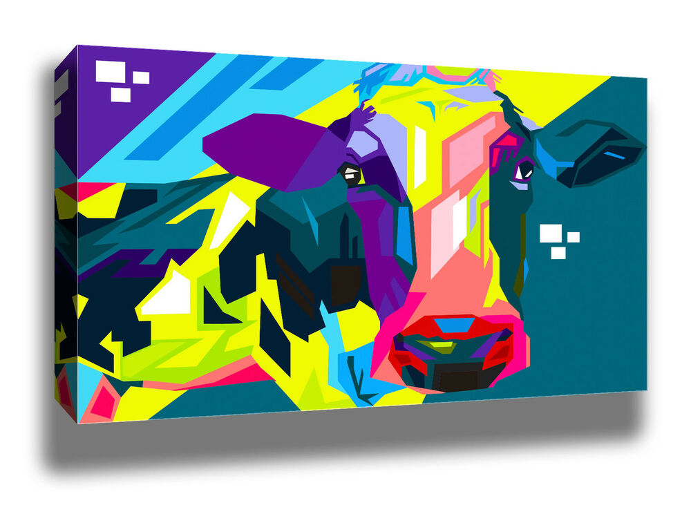 Pop art cow colourful home decor quality framed canvas for Pop wall art