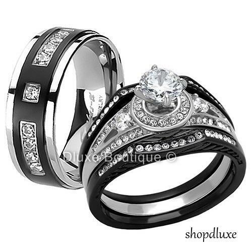 wedding ring set for her his hers 4 pc black stainless steel amp titanium wedding 9984