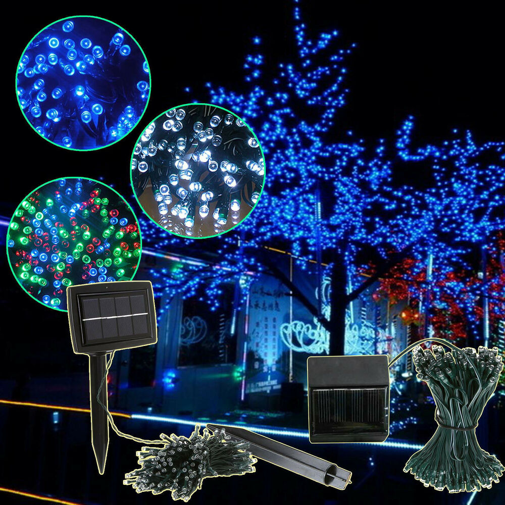 200 500 led solar powered fairy string lights garden - Large bulb exterior christmas lights ...
