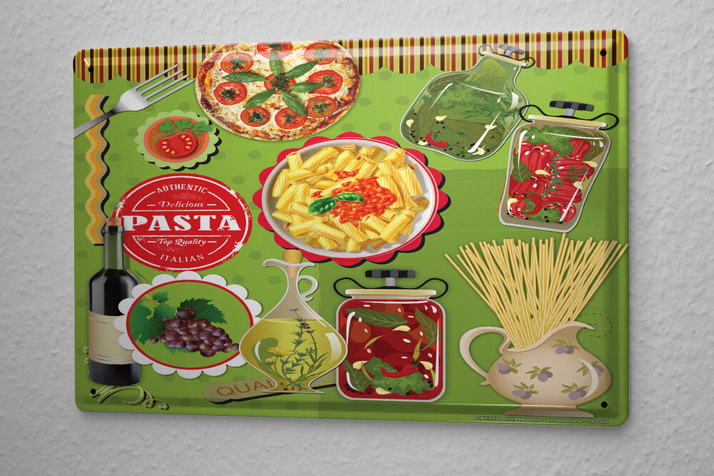 Tin sign food restaurant decoration pizza pasta olive oil metal plate ebay - Deco snack ...
