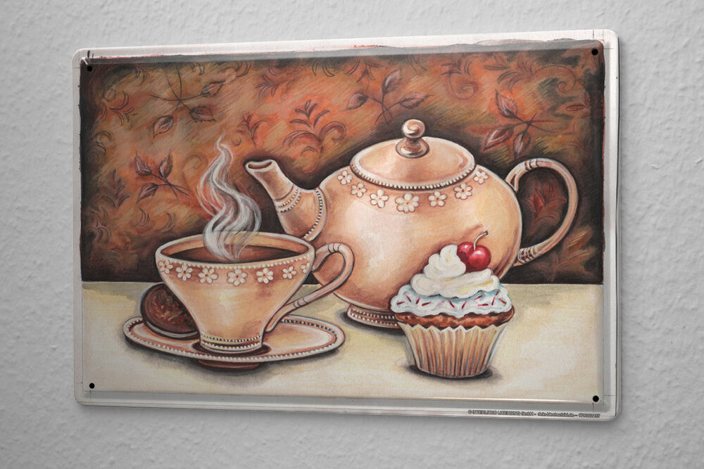 Kitchen Wall Decor With Plates : Tin sign kitchen decor coffee cookie cupcake tarts metal