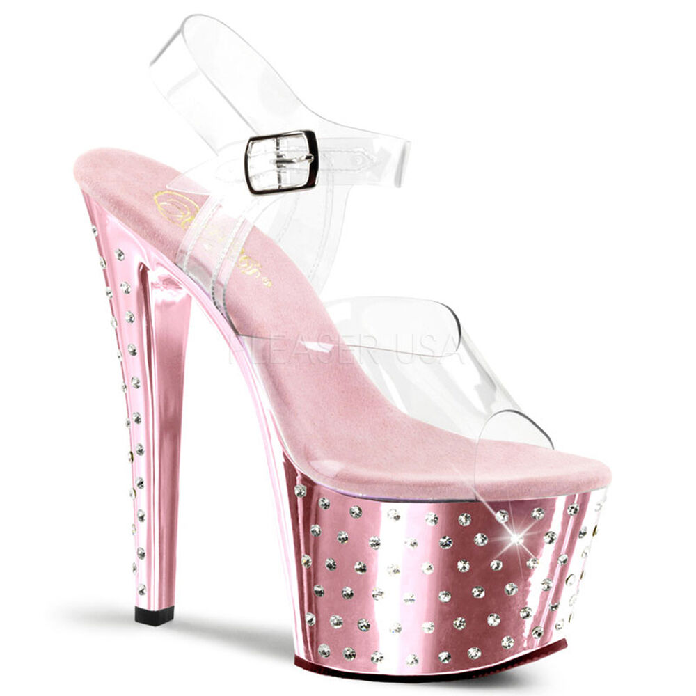Details about PLEASER Sexy Stripper Shoes Baby Pink Chrome Rhinestone  Platform 7