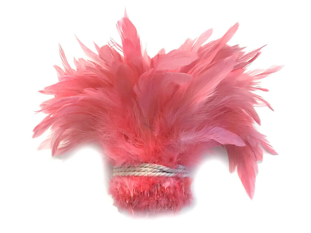 1 yard coral dyed strung rooster schlappen wholesale for Where can i buy feathers for crafts