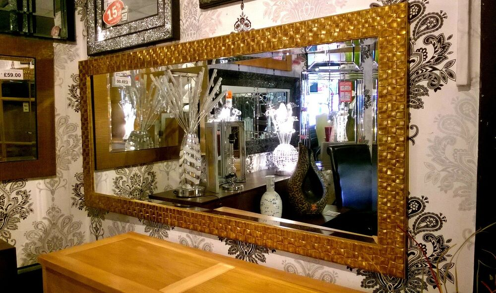 Large Antique Gold Mosaic Wood Frame Wall Mirror Bevelled