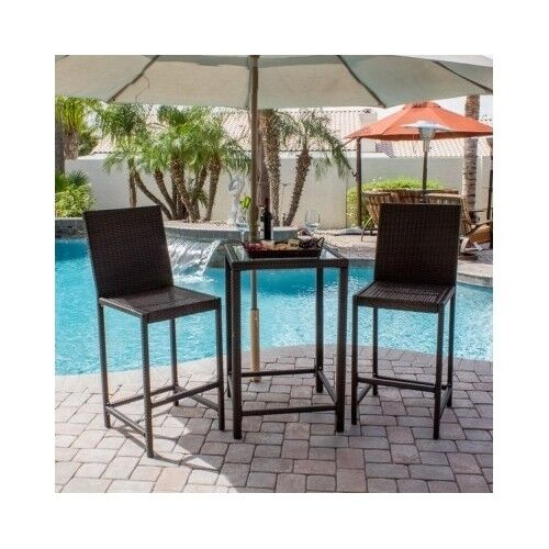 Wicker Dining Set Patio Outdoor 3 Piece Bistro Bar Height Stools Glass Top Ta