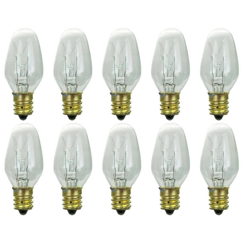 Night Light Bulbs C7 Clear 4 Watt 120v Candelabra Base E12 Box Of 10 Bulbs Ebay