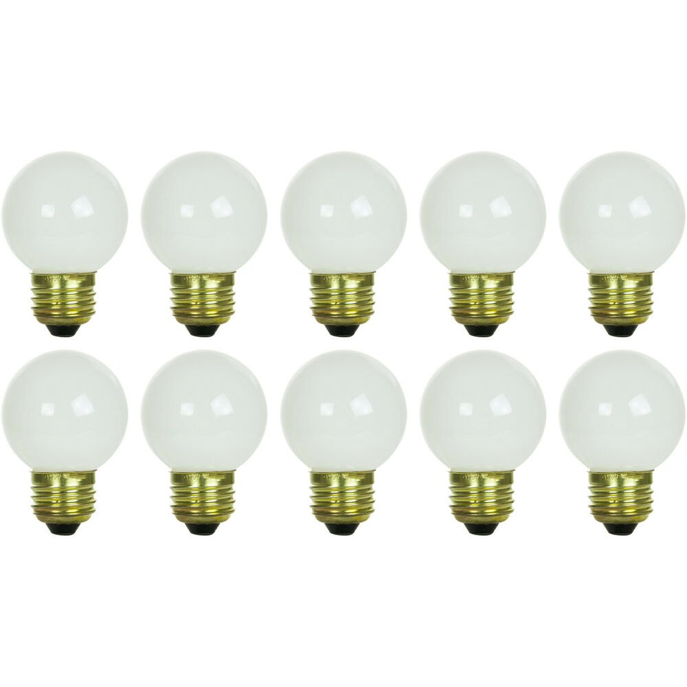 10 Pack 25 Watt G16 White Decorative Globe Medium Base