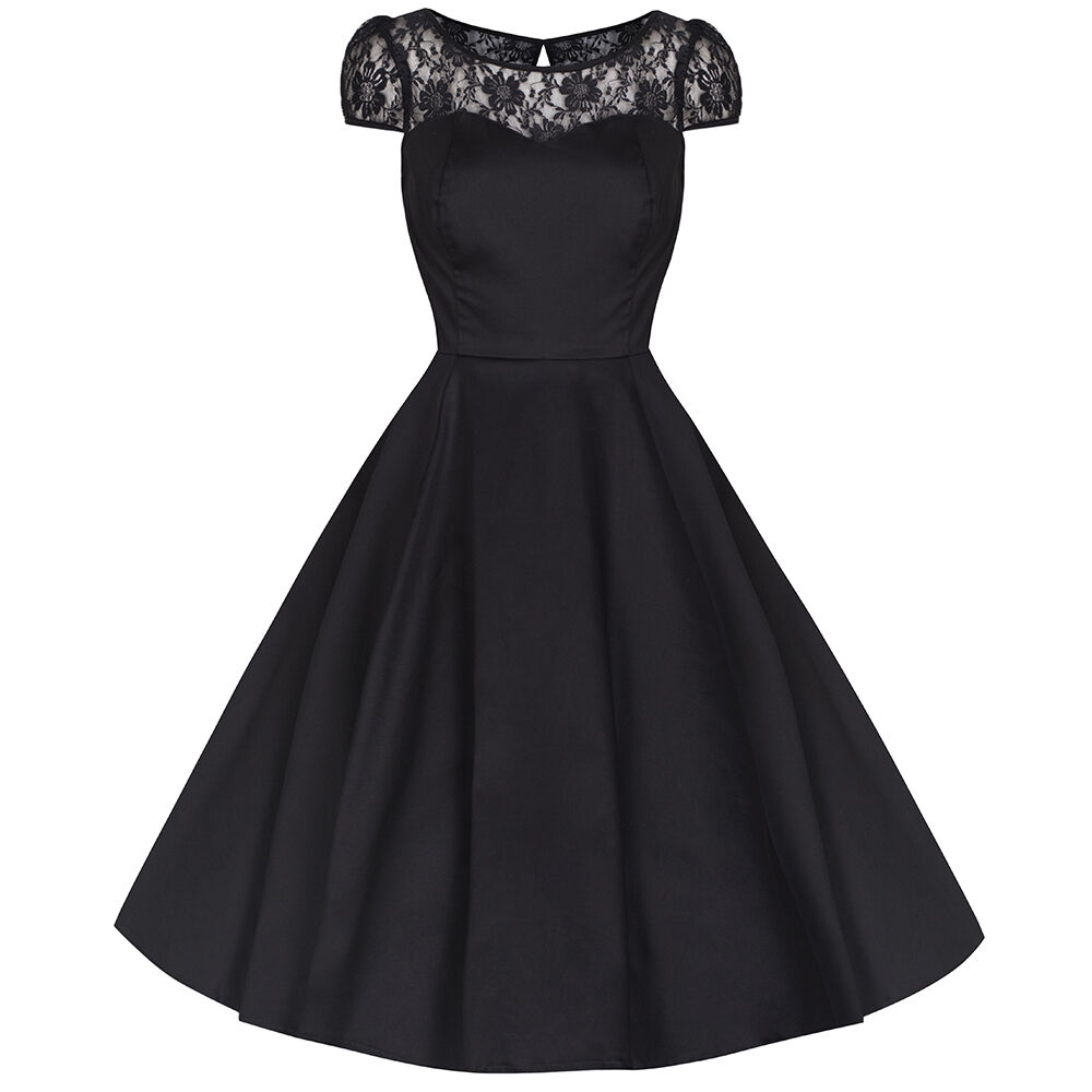 Pretty Kitty Rockabilly 50s Black Lace Vintage Swing Prom
