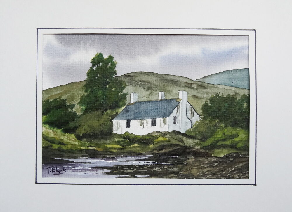original aquarell cottage in schottland ebay. Black Bedroom Furniture Sets. Home Design Ideas