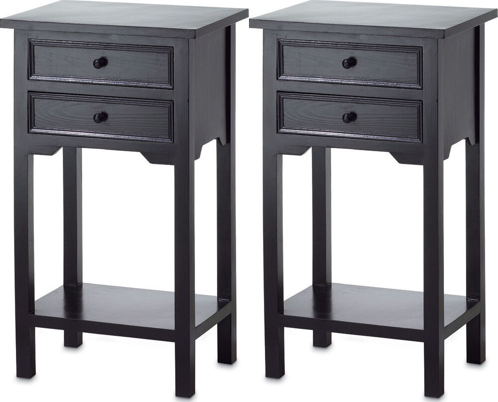 2 small black end side bedside table bedroom nightstand 2 for Small tall end table