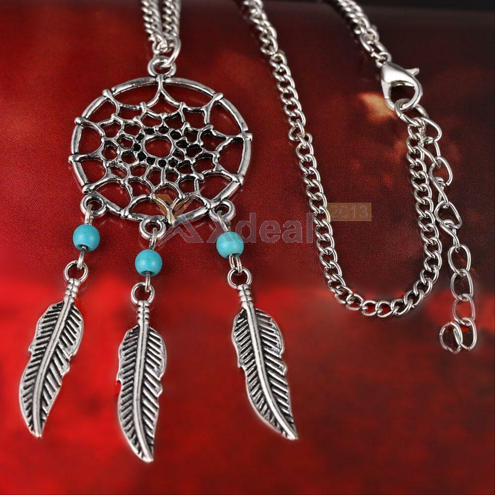 antique silver Dream catcher necklace, women jewelry ...