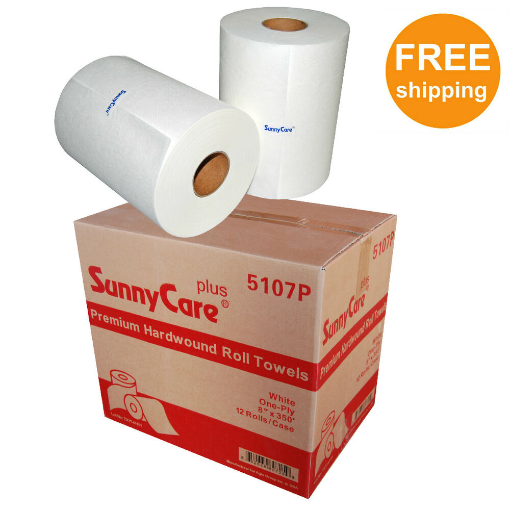 """Paper Towel Rolls Telescope: 8"""" White Premium Quality Hard Wound Paper Roll Towels, 8"""