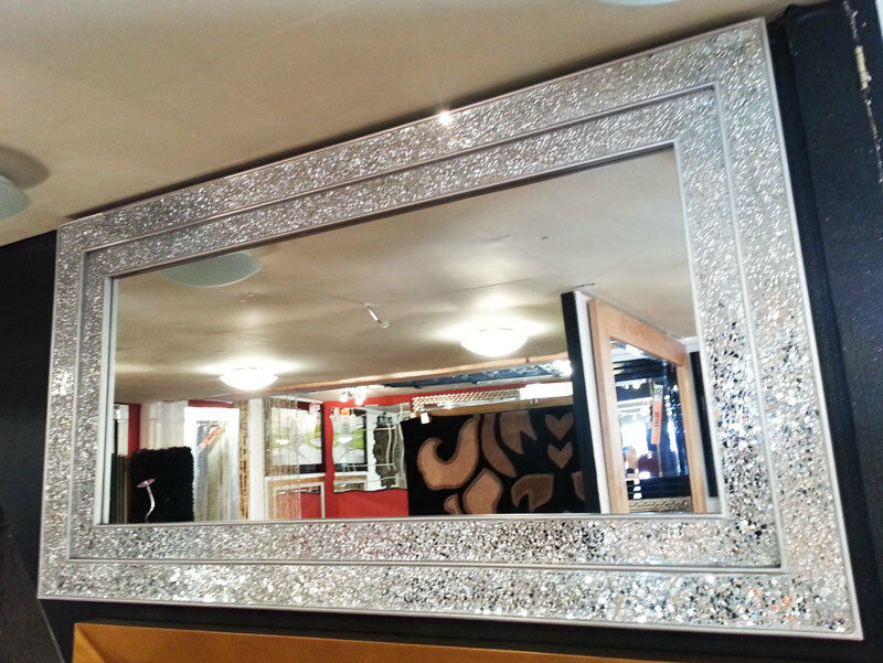 Large crackle silver glass mosaic wall mirror double frame for Large silver wall mirror