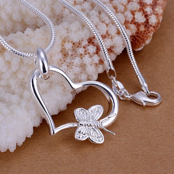Women Fashion 925 Sterling Silver Chain Butterfly Heart Necklace With Pendant