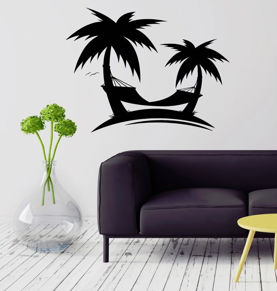 wall decal palm hammock relax vacation trees art vinyl stickers ig2889 ebay. Black Bedroom Furniture Sets. Home Design Ideas