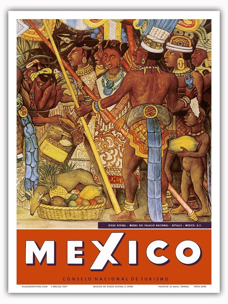Mexico aztec mural vintage world travel art poster print for Aztec mural painting