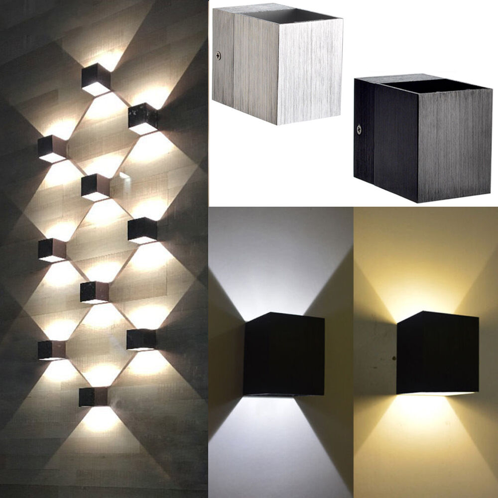 Modern 3W Day/WarmWhite LED Square Up Down Wall Lamp Spot ...