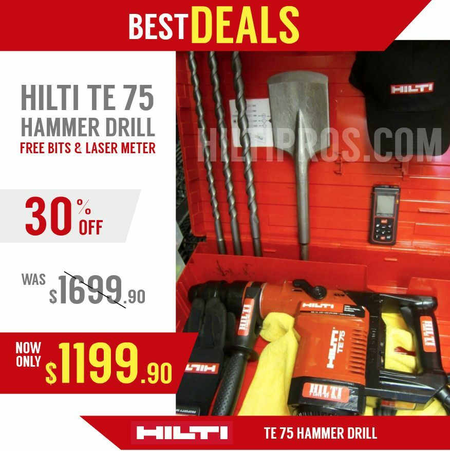 hilti te 75 hammer drill excellent condition free laser meter bits fast ship ebay. Black Bedroom Furniture Sets. Home Design Ideas