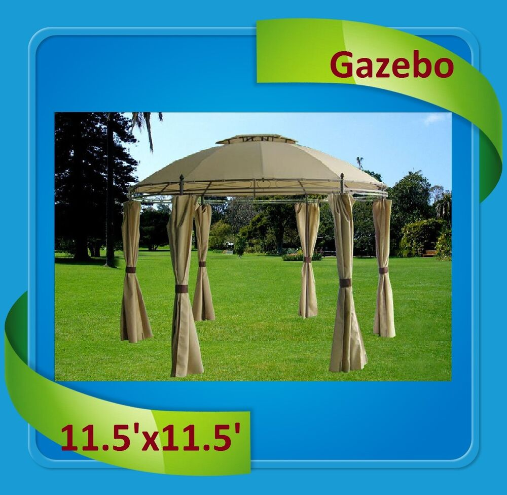 ... Mosquito Tent Patio By Deluxe Gazebo 11 5 X11 5 Steel Frame Round  Gazebo With ...