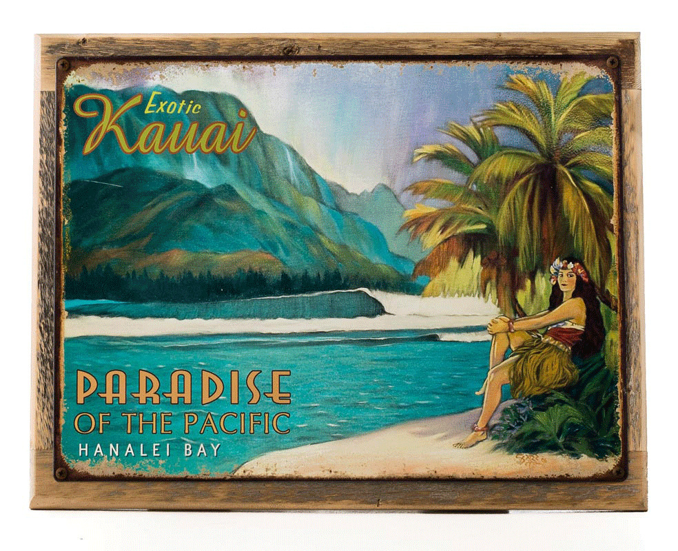 Exotic kauai metal sign on wood frame surfing and for Tropical decor