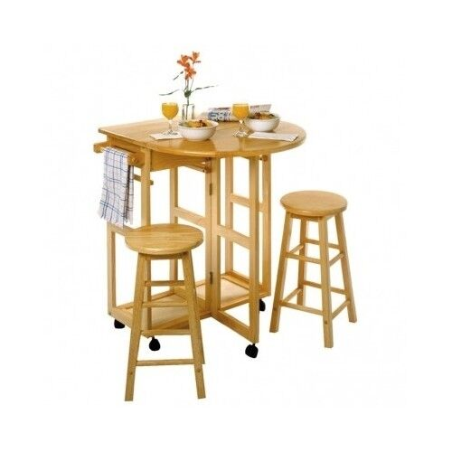 Small dinette set 3 pc wood breakfast nook dining table for Small wood dining table and chairs